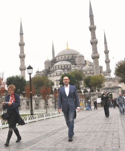 Gavin Tollman Departing the Blue Mosque, a visit that profoundly moved me