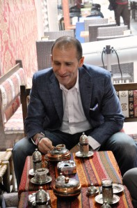 Gavin Tollman drinking Turkish Coffee – following which my fortune was read
