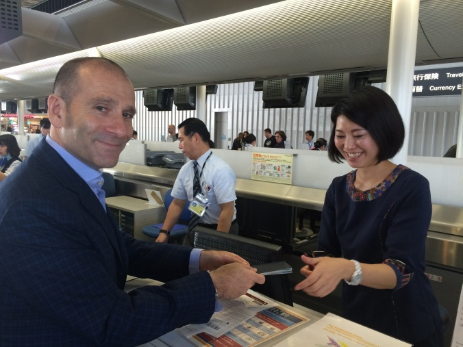 Checking in Narita for Singapore Airlines with the delightful Chisato Toda